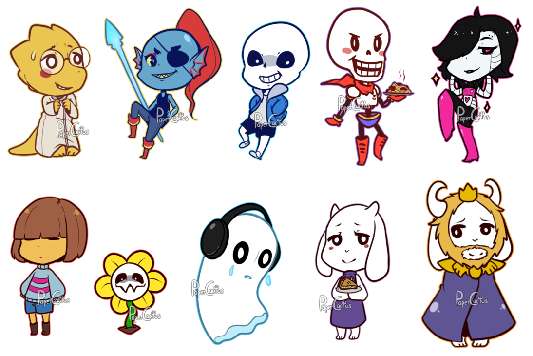 Undertale fanart of all characters png. By papercactus on deviantart