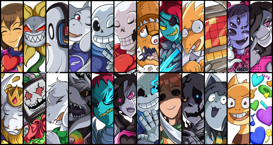 Undertale fanart of all characters png. Image battle cuts remaster