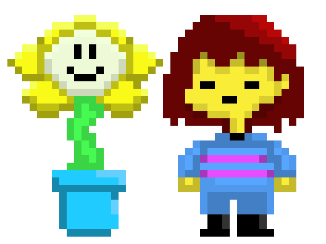 Undertale frisk png. And flowey shaded pixel