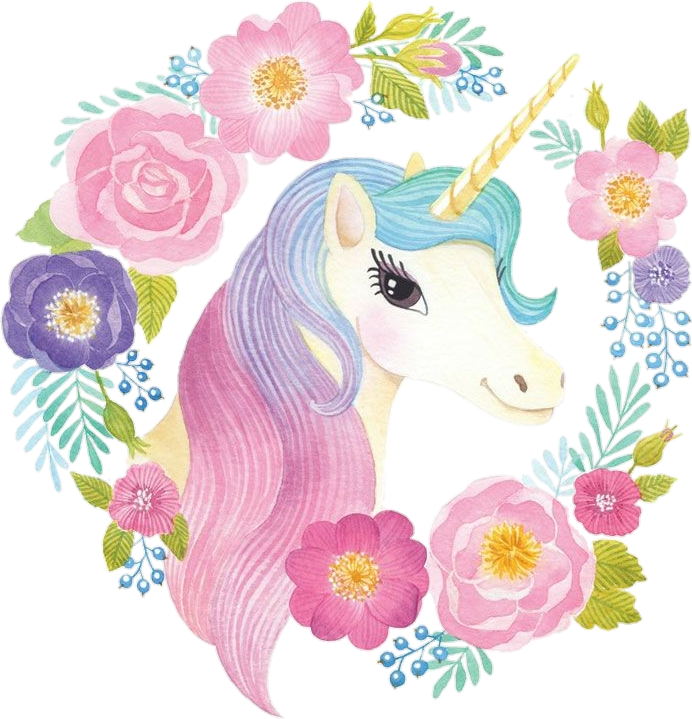 Unicorn clipart floral. Spring cute watercolor colorful