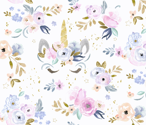 Unicorn clipart floral. Twilight fabric crystal walen