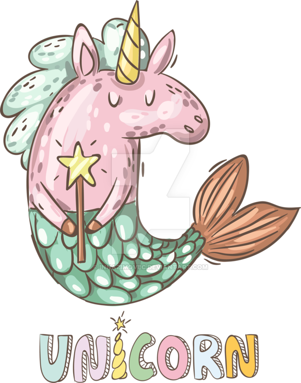 Nicorn clipart mermaid. Magical unicorn by innazimovec