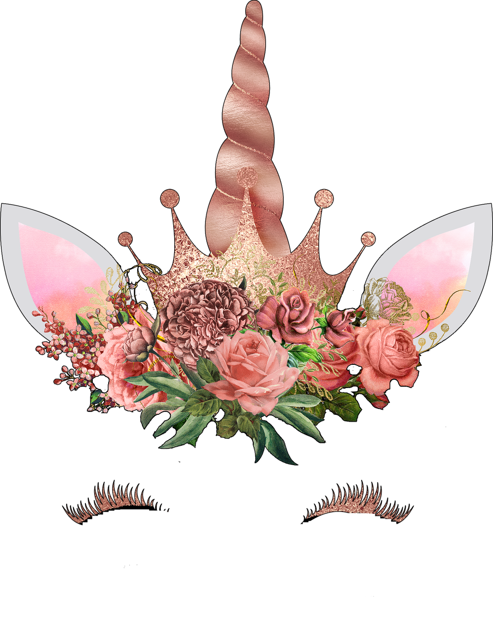 Unicorn face png. Fancy rose gold ready