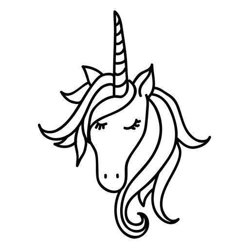 Unicorn outline png. Hand drawn animal fantasy