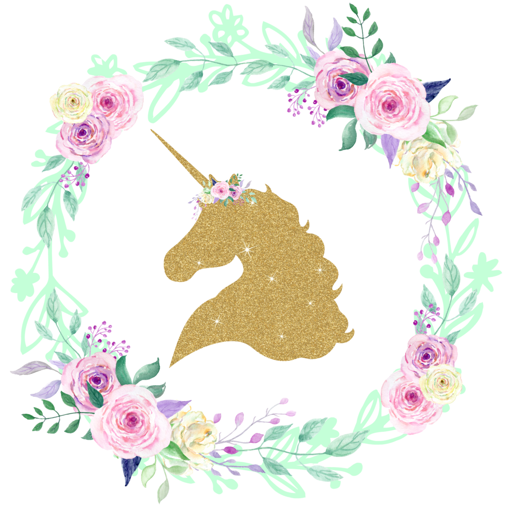 Unicorns transparent glitter. Gold unicorn center floral