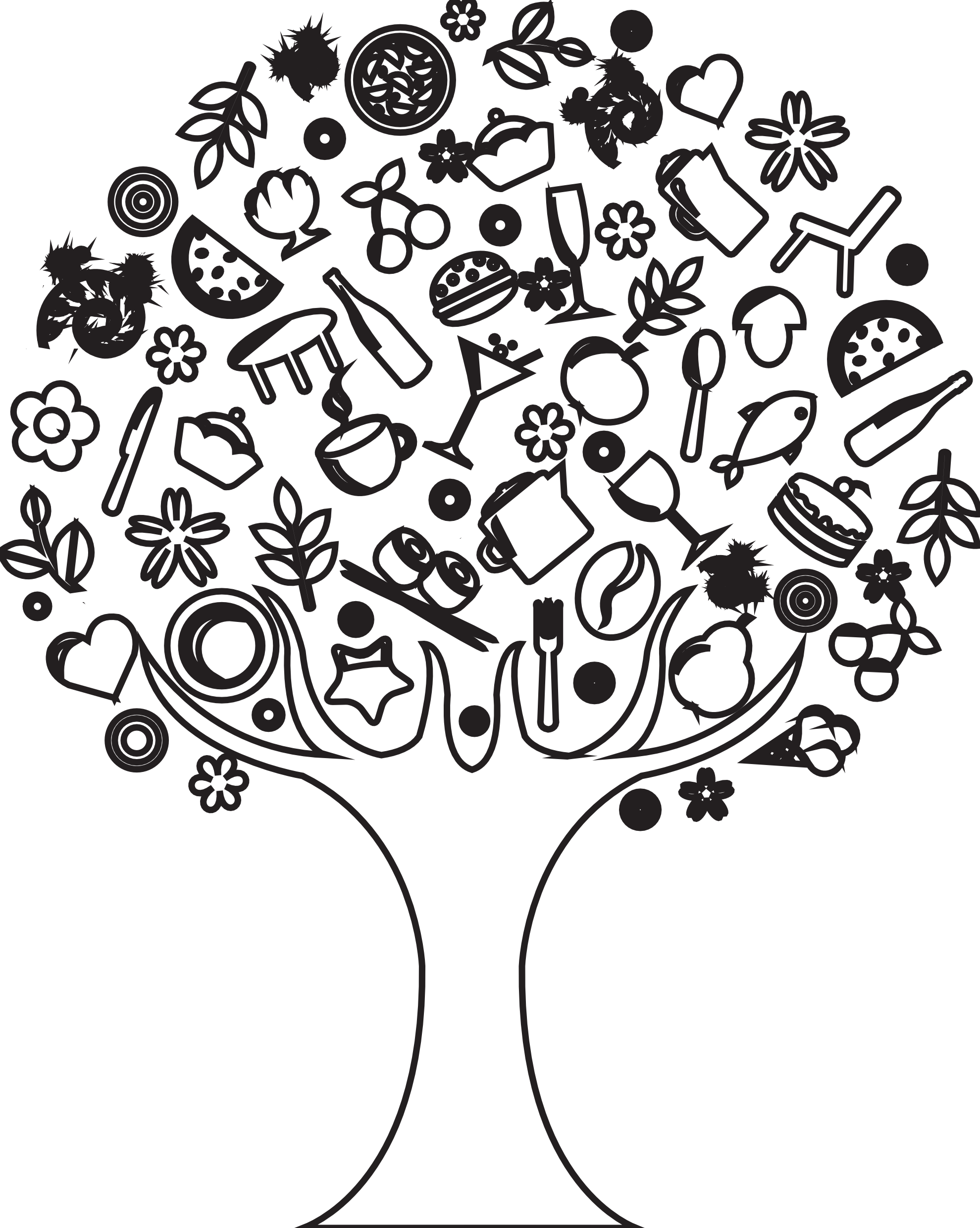 White drawing wallpaper. Tree drawings have a