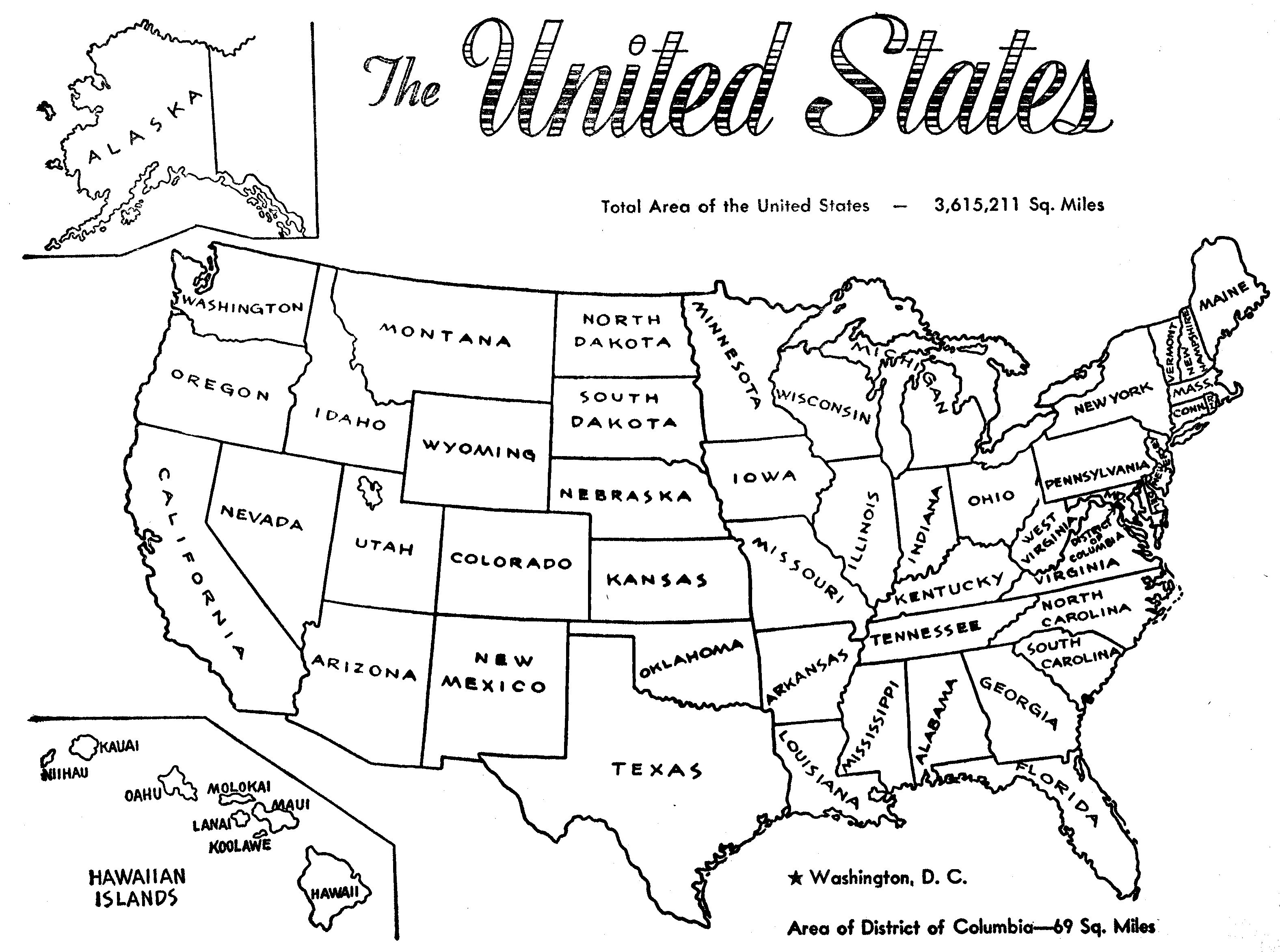United states clipart blackline. Us map black and