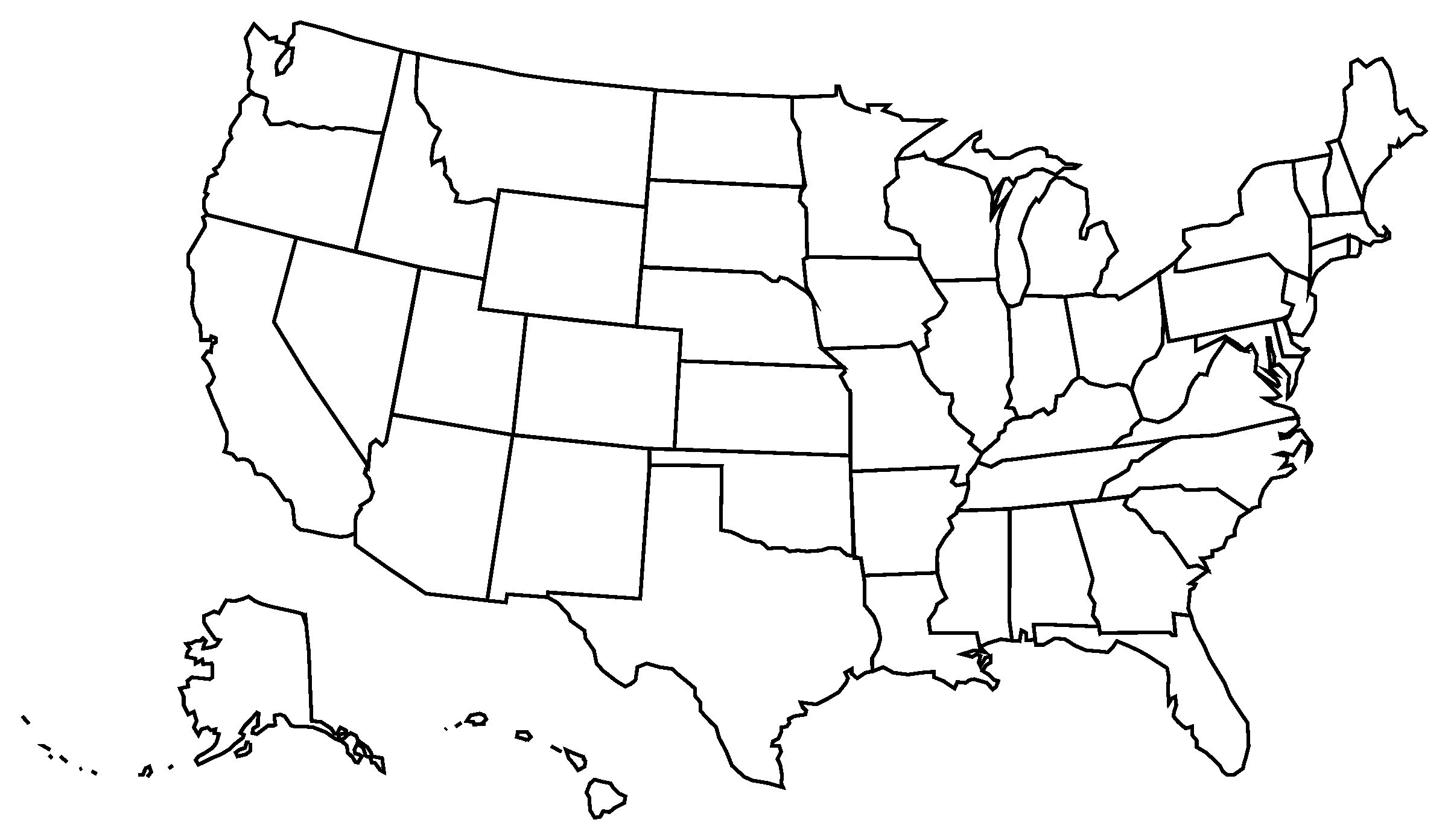 United states clipart blackline. Blank us state map