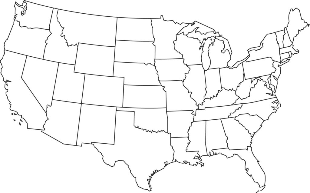 United states clipart blackline. Of map outline typegoodies