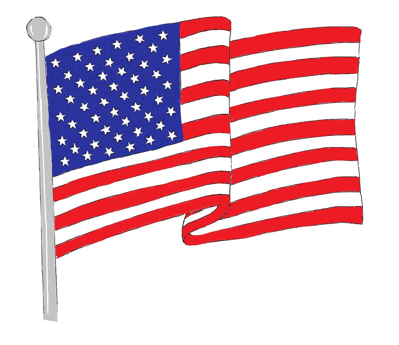 United states clipart traceable. Flag drawing at getdrawings