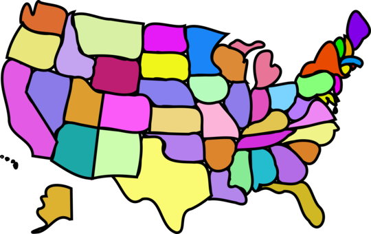 Us vector cartoon. United states openstreetmap map