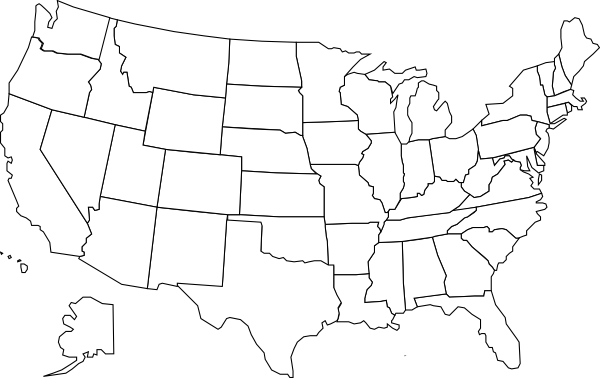 United states map outline png. With b w clip