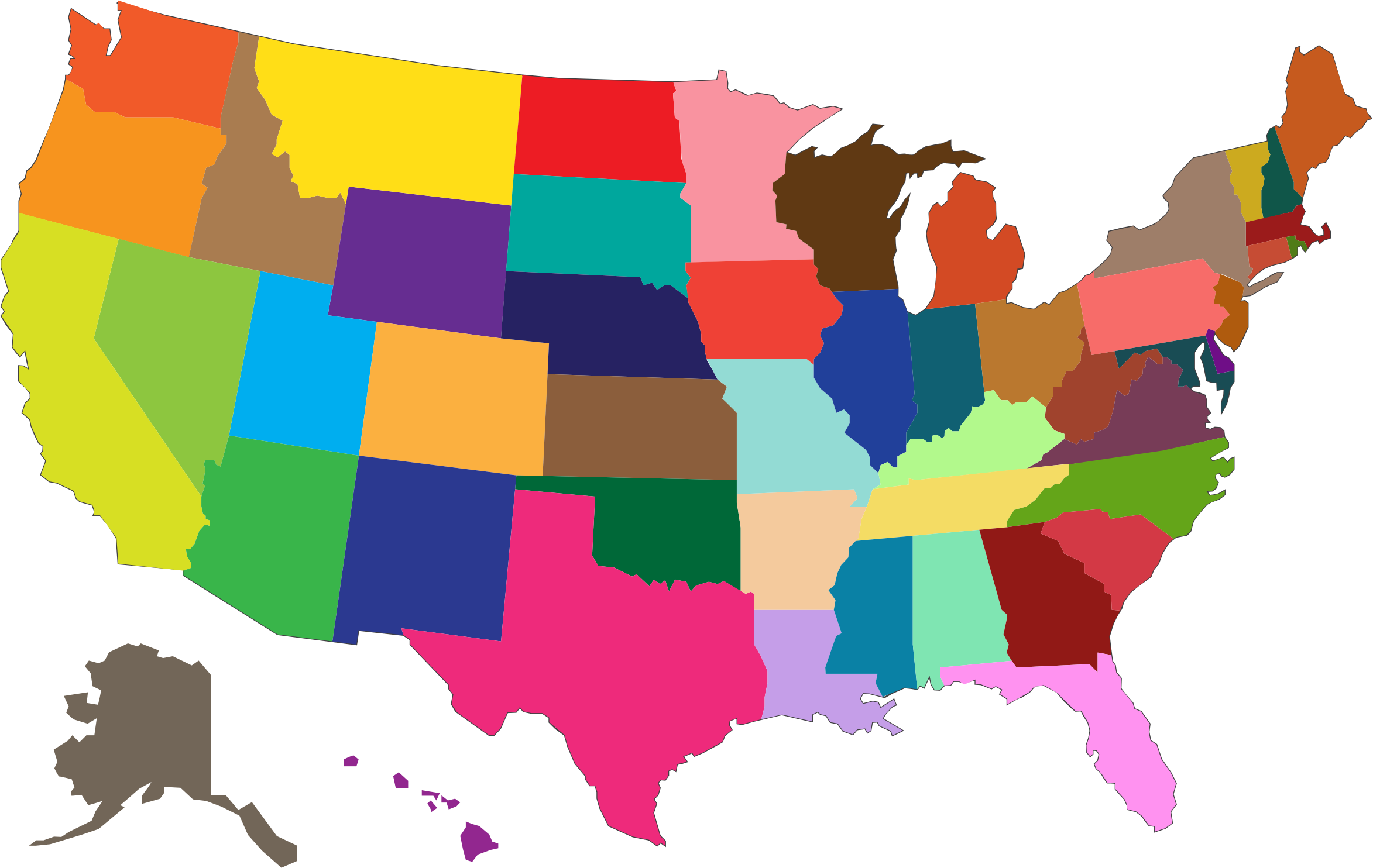 United states map png. Multicolored icons free and