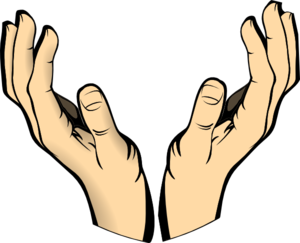 Vector unity hands. Raised clip art at