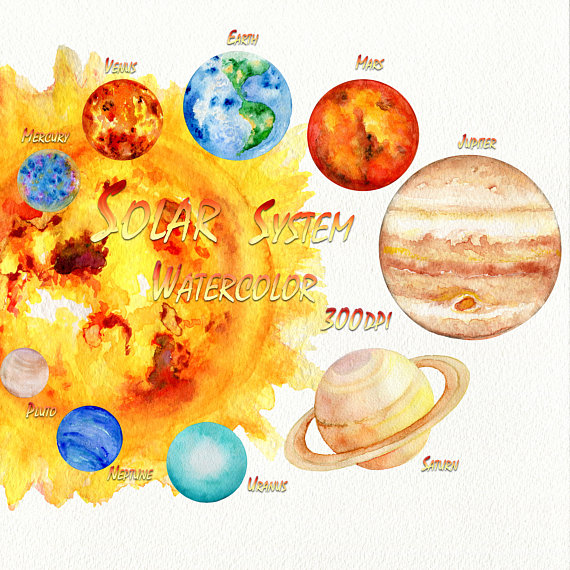 Universe clipart island. Solar system planets watercolor