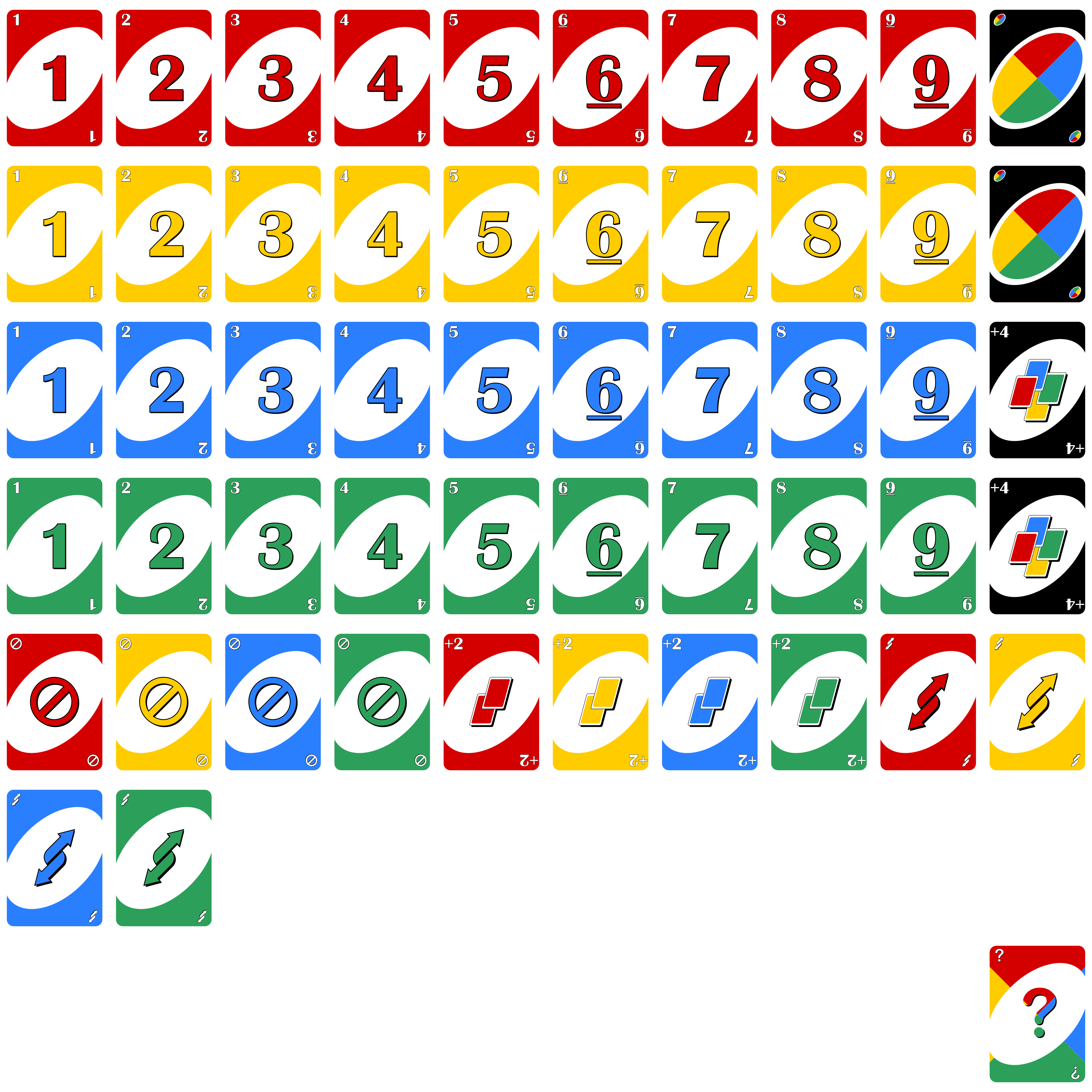 Uno cards png. Opengameart org unofrontpng mb
