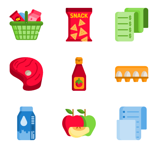 Up vector goods. Icons free grocery