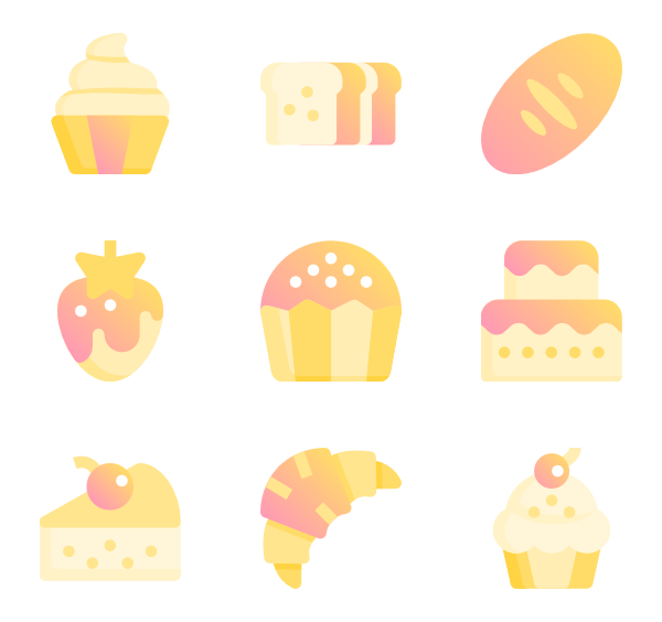 Up vector goods. Dessert icons free bakery