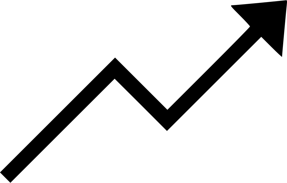 Up vector large arrow. Trending chart increase svg