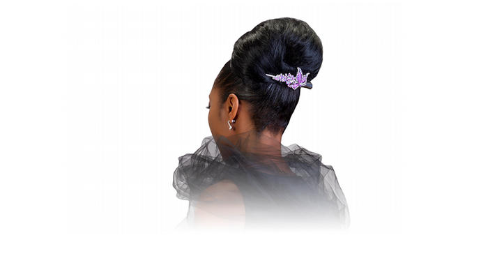 Updo clip black hair. Sophisticated hairstyle celebrity french