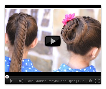 Updo clip school. Lace braided ponytail and