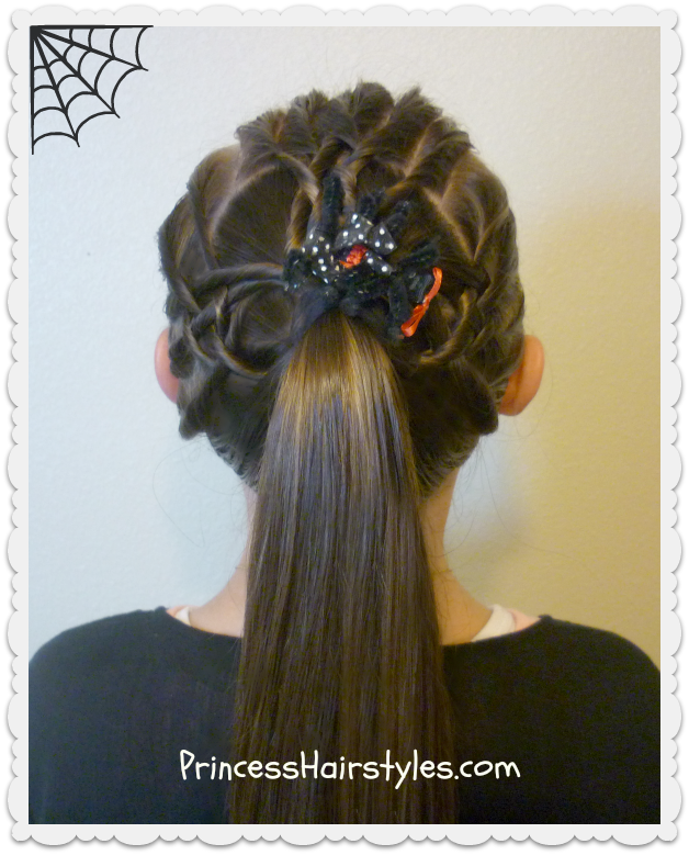 Extension clip french braid. Woven spider web hairstyle