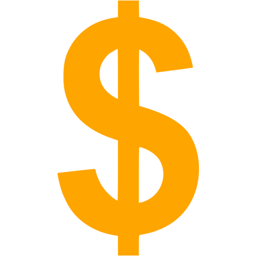 Us dollar png. Orange icon free currency