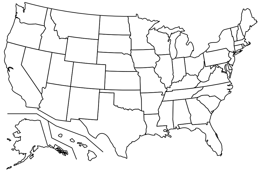 United drawing black and white. Map of us at