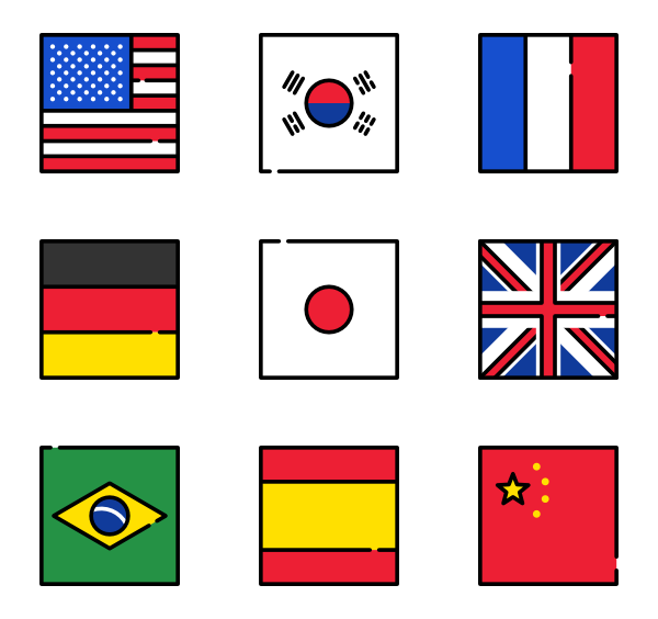 Icon family square vector. Svg flags clipart library library
