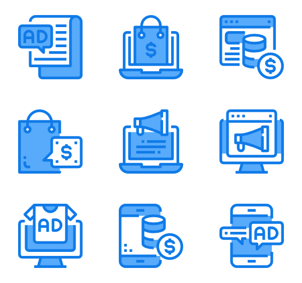 Us vector blue person. Marketing icons free shopping