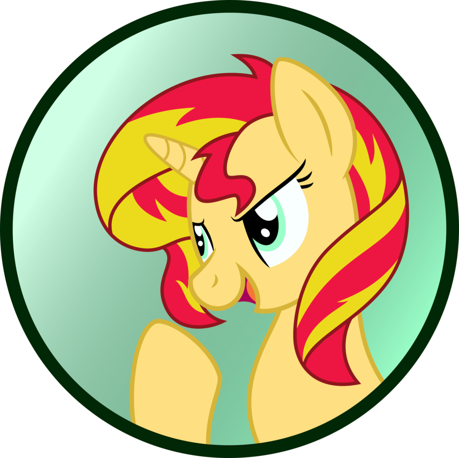 Us vector cartoon. Sunset shimmer button by