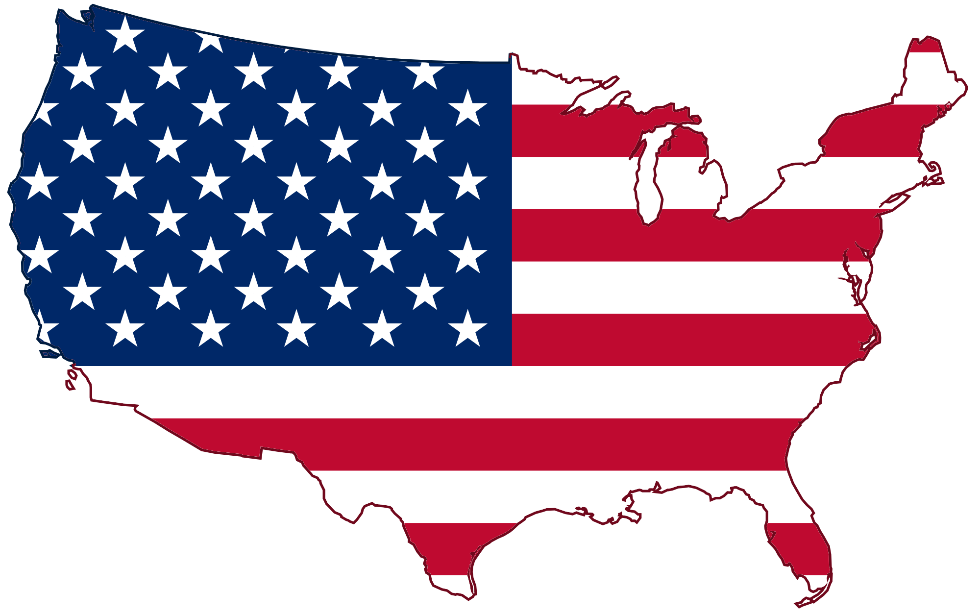File usa flag map. Educational vector image black and white download