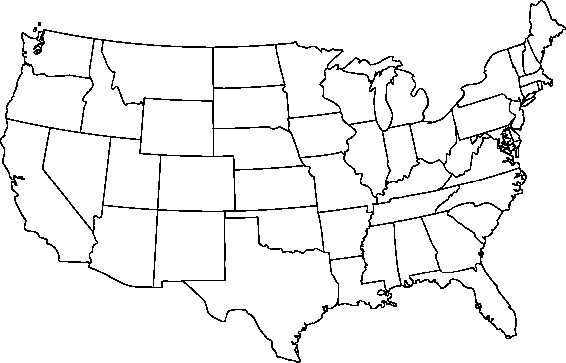 Blank And White Usa Map.Usa Map Black And White Transparent Png Clipart Free Download Ya