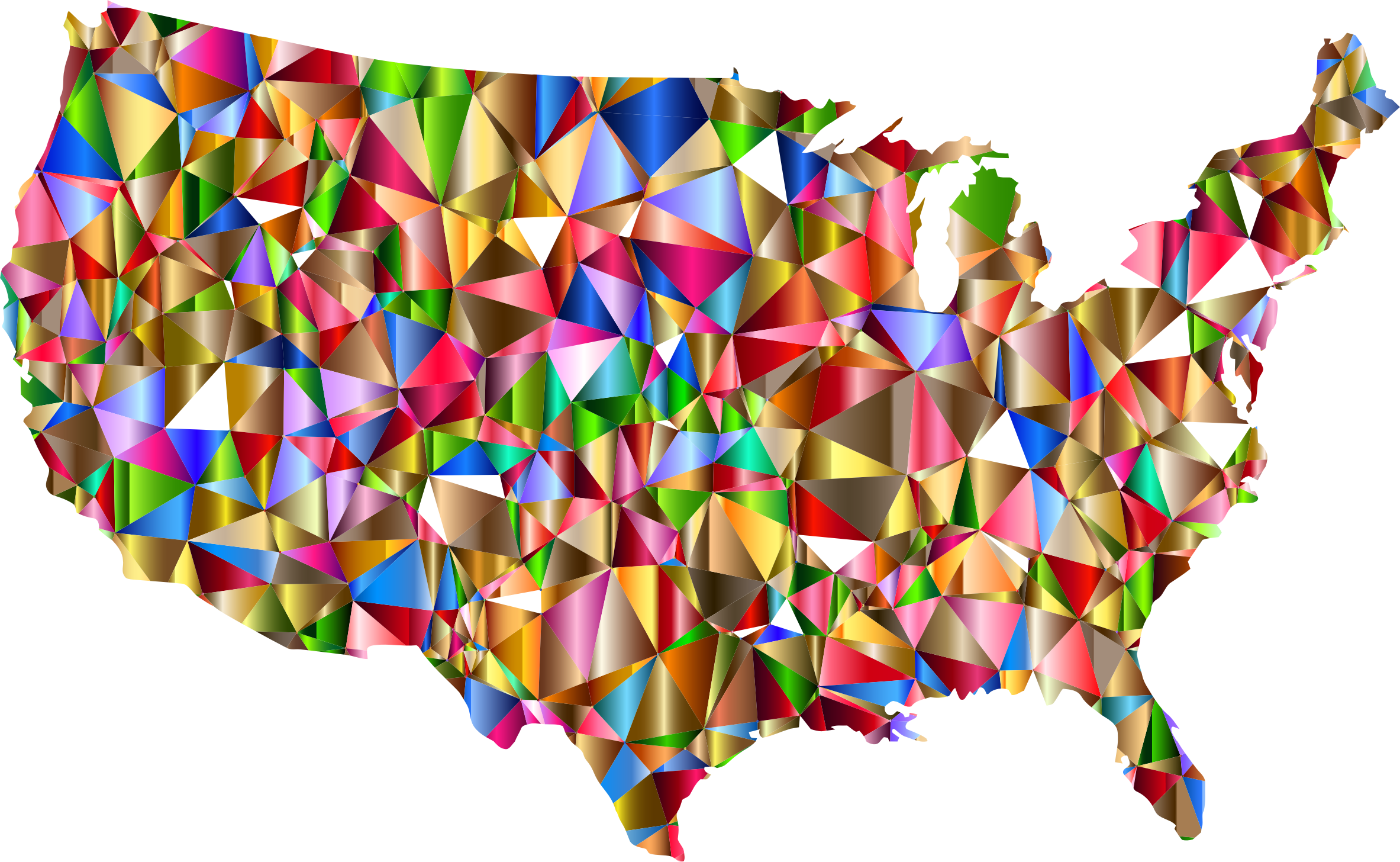Vector colors transparent background. Vibrant colorful low poly