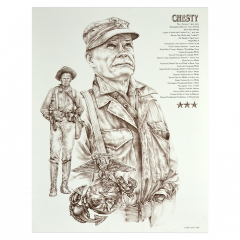 Usmc drawing bulldog. Chesty puller poster the