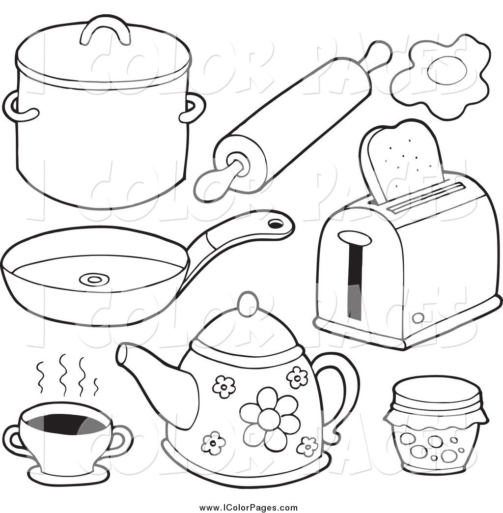 Utensils clipart colouring page. Maxresdefaultcoloring pictures kitchen drudge