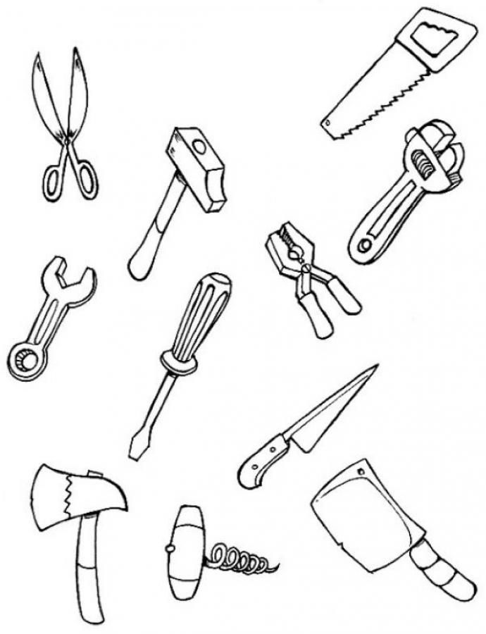 Utensils clipart colouring page. Tool coloring pages for