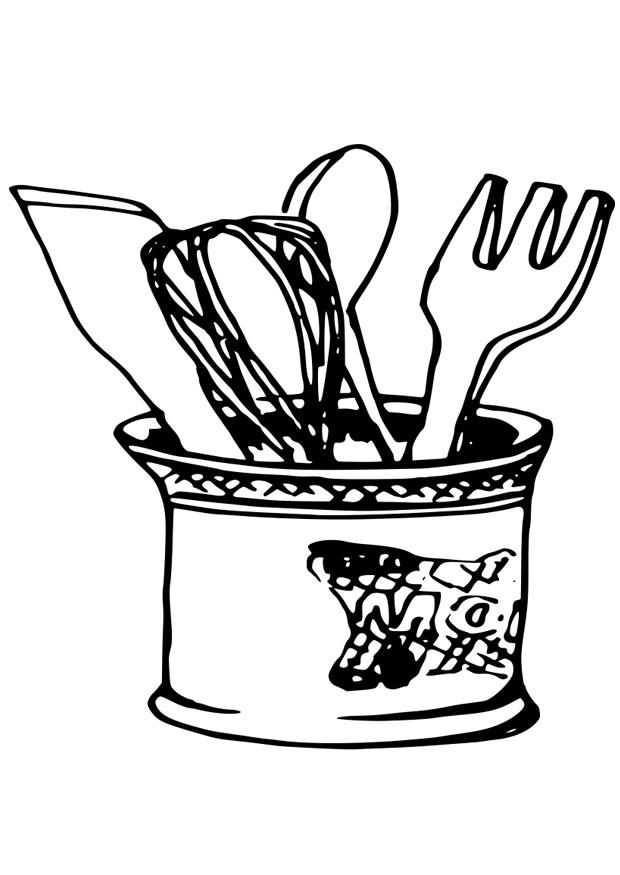 Utensils clipart colouring page. Coloring pages of kitchen