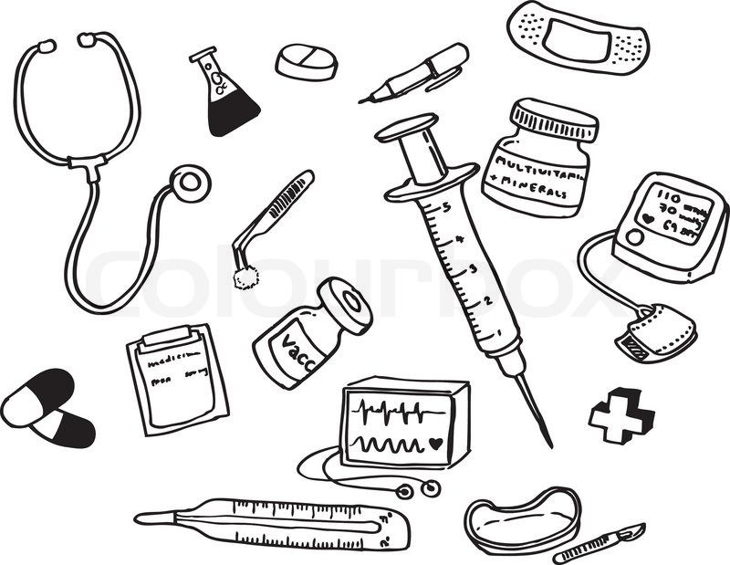 Utensils clipart colouring page. Doctor tools coloring pages