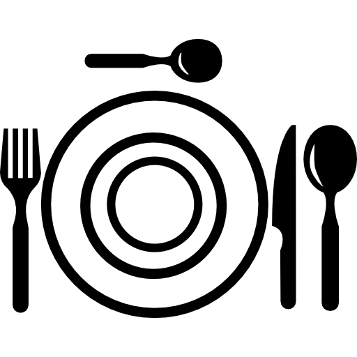 Dinner vector top view. Plate and cutlery from