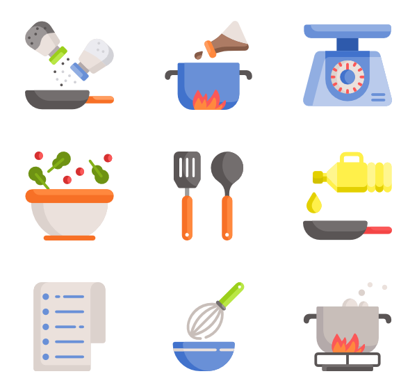 Utensils vector kitchen ware. Icons free cooking