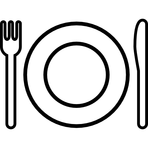 Utensils vector outline. Plate and cutlery free