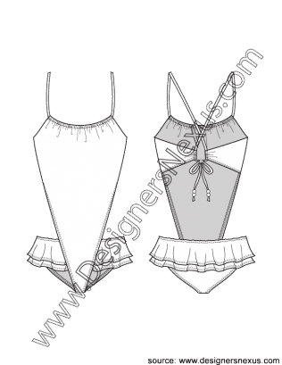 Swimsuit drawing flat. V shaped monokini with