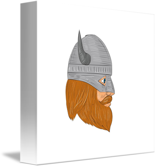V drawing side view. Viking warrior head right