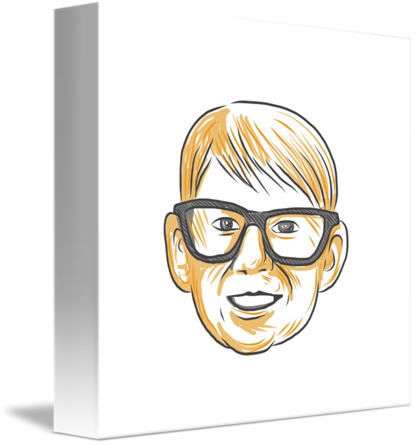 V drawing smile. Caucasian boy glasses head