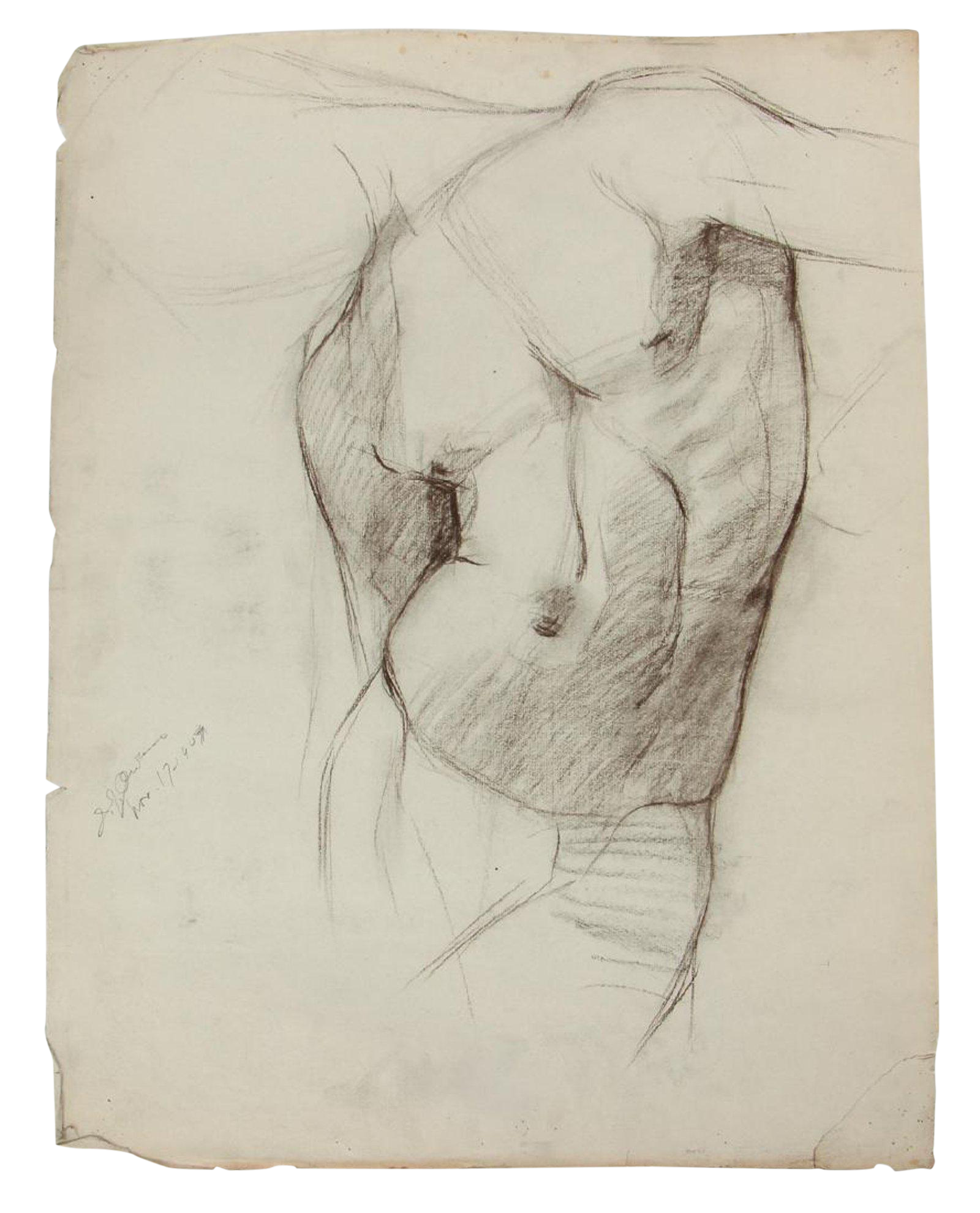 V drawing torso. Study charcoal by