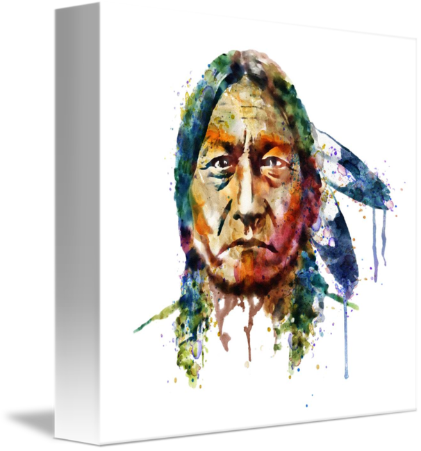 Sitting bull painting by. V drawing watercolor jpg