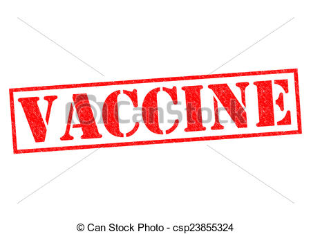 Red rubber stamp over. Vaccine clipart vector