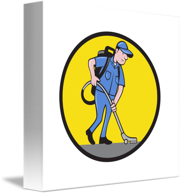 Vacuum transparent janitor. Commercial cleaner circle cartoon