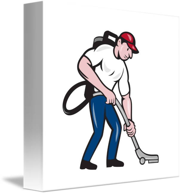 Vacuum transparent janitor. Commercial cleaner cartoon by